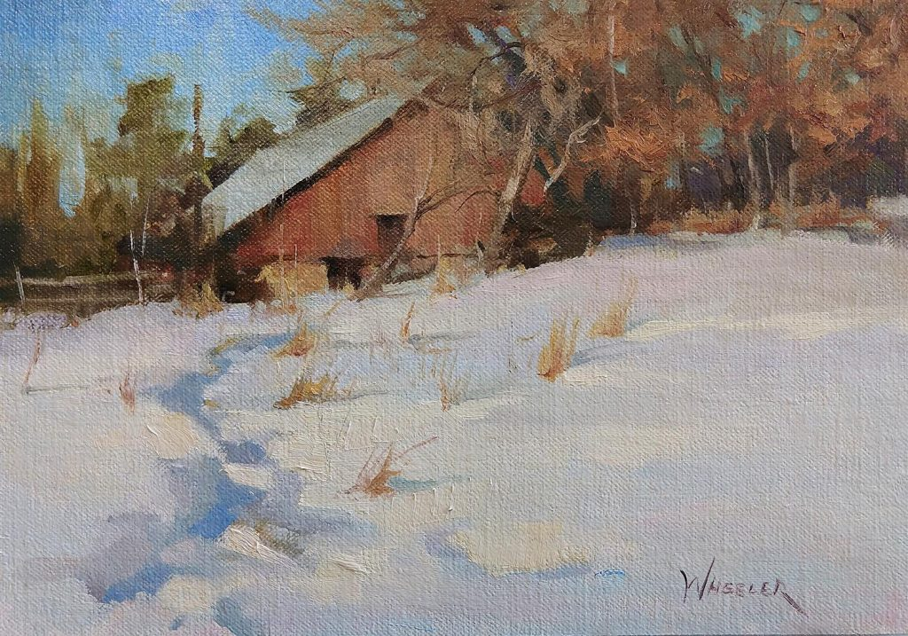 oil painting of barn in snow