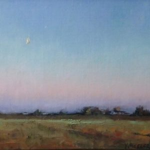 Oil painting of evening over the plains