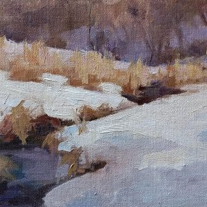 oil painting of stream in winter