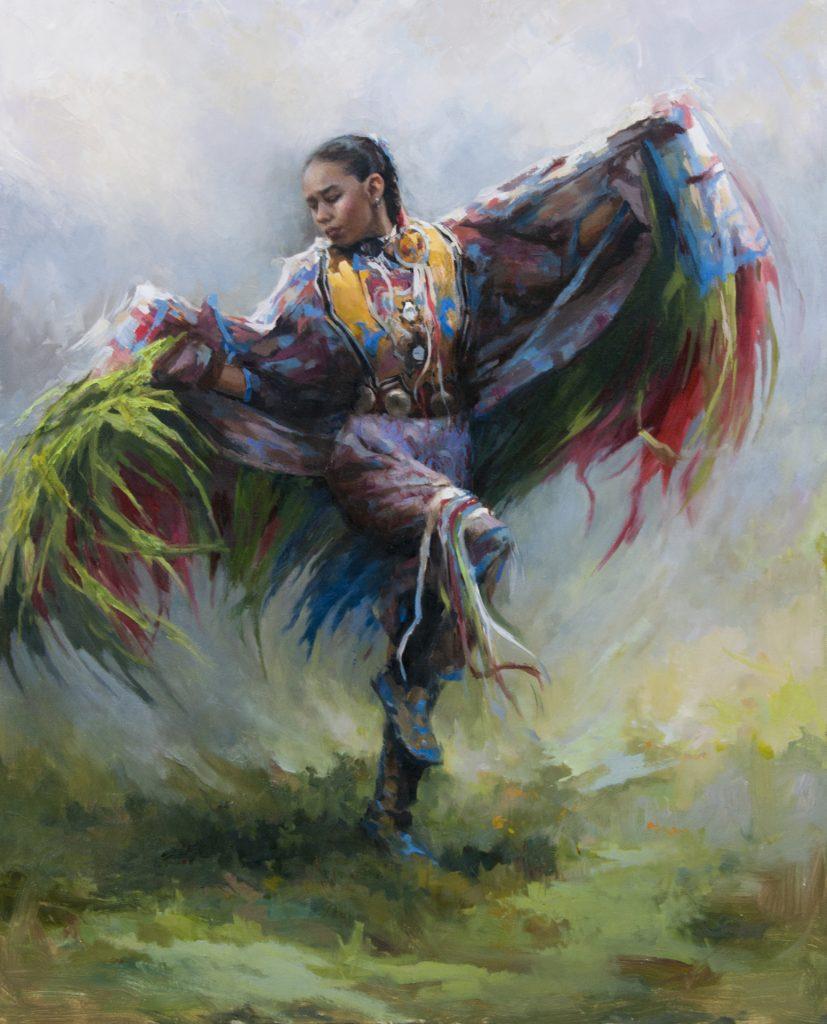 Shawl Dancer, Portrait, Painter, Painting, Native American Dancer, Native American Painting